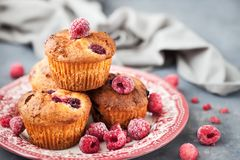 Homemade delicious raspberry muffins. Fresh homemade delicious raspberry muffins Stock Images