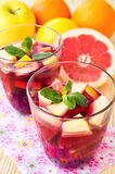 Homemade delicious red sangria with limes oranges, apples and gr Royalty Free Stock Images