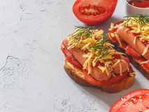 Homemade delicious sandwich with sausage, tomatoes and cheese Stock Image