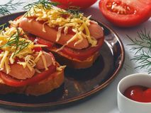 Homemade delicious sandwich with sausage, tomatoes and cheese. Healthy fast food Stock Photography
