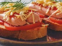 Homemade delicious sandwich with sausage, tomatoes and cheese. Healthy fast food Stock Photos