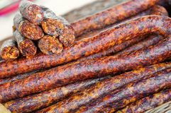 Homemade delicious smoked sausages. Traditional food Stock Photo
