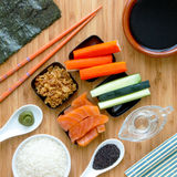 Homemade Delicious Sushi Ingredients. Homemade sushi for sushi lovers Royalty Free Stock Photo