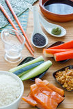 Homemade Delicious Sushi Ingredients. Homemade sushi for sushi lovers Stock Image