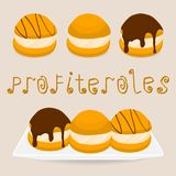 Homemade dessert puff cake profiterole. Vector illustration logo for homemade dessert puff cake profiterole. Profiterole consists of sweet confectionery, choux stock illustration