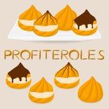 Homemade dessert puff cake profiterole. Vector illustration logo for homemade dessert puff cake profiterole. Profiterole consists of sweet confectionery, choux Royalty Free Stock Photography