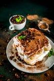 Homemade dessert tiramisu on plate royalty free stock images