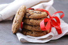 Homemade desserts  cookies with chocolate chips Royalty Free Stock Photos