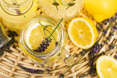 Lemonade Infused Detox Water with Lemon and Lavender stock photo