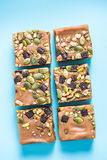 Homemade diet flap jacks with pistachio and nuts Stock Image