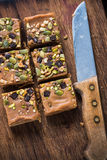 Homemade diet flap jacks with pistachio and nuts Stock Images
