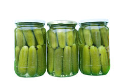 Homemade dill pickles in glass jars Stock Photo