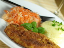 Homemade dinner. Chicken breast meal with mashed potatoes stock photo