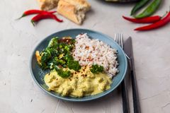 Handmade chicken curry tikka masala with basmati rice and broccoli on grey table royalty free stock photos