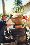 Homemade distillery for making brandy. Traditional homemade distillery for making brandy stock image