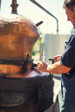 Homemade distillery for making brandy royalty free stock photo
