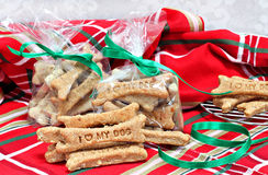 Homemade dog biscuits stamped with I Love My Dog in Christmas Se Stock Images