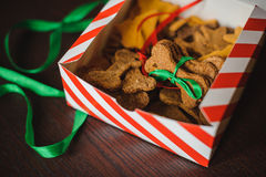Homemade dog bones shaped cookies in open box Stock Image
