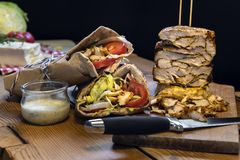 Homemade doner kebab with chicken meat stock images