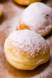 Homemade donut with powder sugar Stock Images