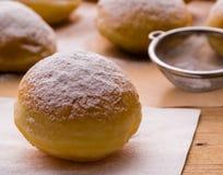Homemade donut with powder sugar Royalty Free Stock Photo