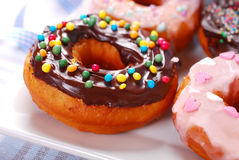 Homemade donuts with chocolate and icing glaze Stock Photography
