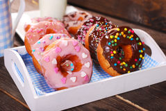 Homemade donuts with chocolate and icing glaze Royalty Free Stock Photo