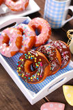 Homemade donuts with chocolate and icing glaze Royalty Free Stock Photography