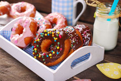Homemade donuts with chocolate and icing glaze Royalty Free Stock Photos