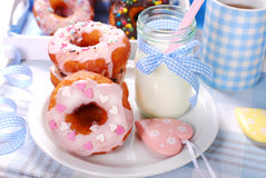 Homemade donuts and milk Stock Image