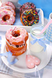 Homemade donuts and milk Royalty Free Stock Image