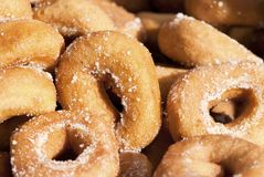 Homemade Donuts. Homemade old-fashioned donuts fried and sprinkled with sugar royalty free stock image