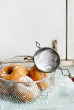 Homemade donuts with sugar powder Royalty Free Stock Photography