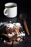 Homemade Double Chocolate Cake with Crushed Meringues, Wafer Rolls and Coffee Stock Photography