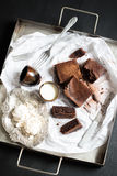 Homemade Double Chocolate Cake, Meringues and Milk Stock Images