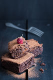 Homemade Double Chocolate Cake with a Ripe Berry on Top Royalty Free Stock Images