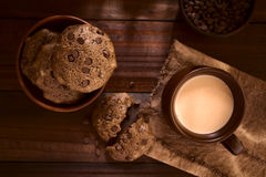 Homemade Double Chocolate Chip Cookies with Chocolate Drink Stock Photos