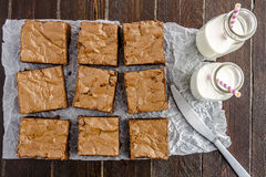 Homemade Double Chocolate Chunk Brownies Royalty Free Stock Images