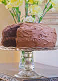 Homemade double chocolate layer cake. And flowers in the background Royalty Free Stock Images