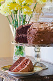 Homemade double chocolate layer cake. And one slice of cake and flowers in the background Royalty Free Stock Images