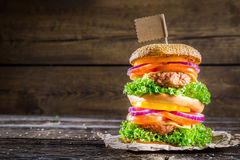 Homemade double-decker burger Royalty Free Stock Image