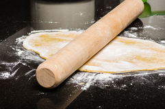 Homemade dough being formed into pasta Stock Images