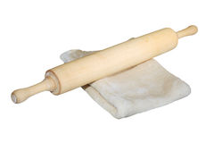 Homemade dough and rolling pin Royalty Free Stock Image