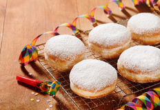 Homemade Doughnuts with Sugar on Metal Screen Stock Photo