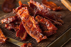 Homemade Dried Barbecue Bacon Jerky. With Salt Royalty Free Stock Images
