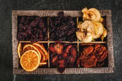Homemade dried berries and fruits royalty free stock image