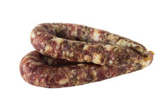 Homemade dried sausage finger-pushed, isolated on white background. Royalty Free Stock Images