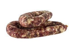Homemade dried sausage finger-pushed, isolated on white background. Stock Image
