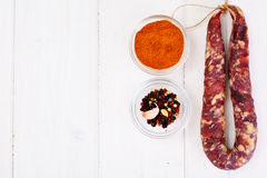 Homemade Dried Sausage on a Light Background stock photography