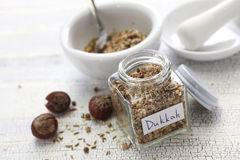 Homemade dukkah in a jar, egyptian condiment Stock Photography